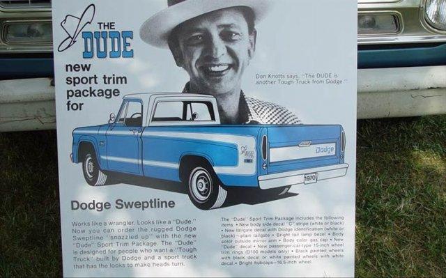 70 D-100 Sweptside Pick up Dodge Dude edition Advert. #1aa Blue.jpg